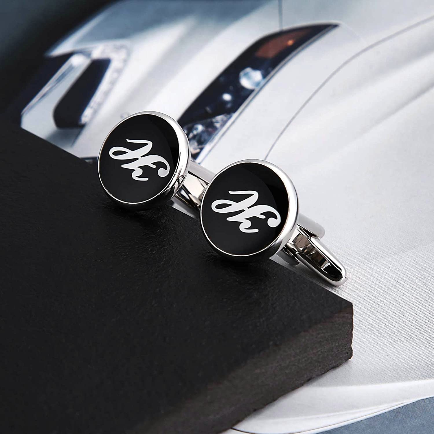 Amazon.com: KnSam Stainless Steel Black White Alphabet Letter h Classic Round Shape Cufflinks for Mens Shirt Stud: Jewelry