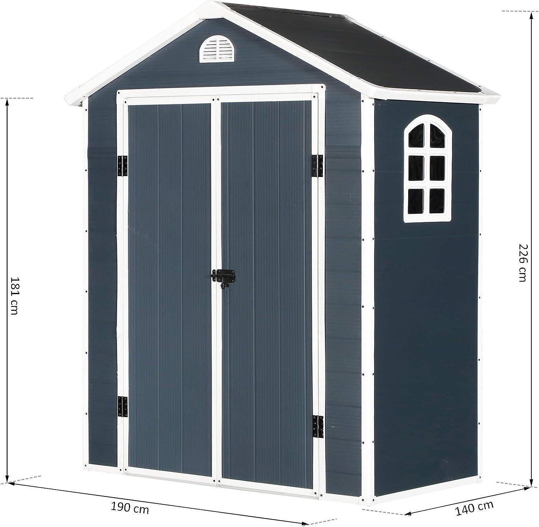 Outsunny Cobertizo de Jardín Exterior para Almacenaje con Doble Puerta Rejilla de Ventilación y Ventana Invernadero Color Gris 190x104x226cm: Amazon.es: Jardín