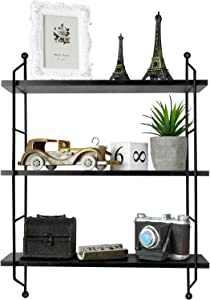 Himimi Industrial Wall Mounted 3-Tier Shelf, Adjustable Wall Floating Storage Shelf Decorative Hanging Display for Bedroom, Living Room, Bathroom, Kitchen, Office and More (Black)