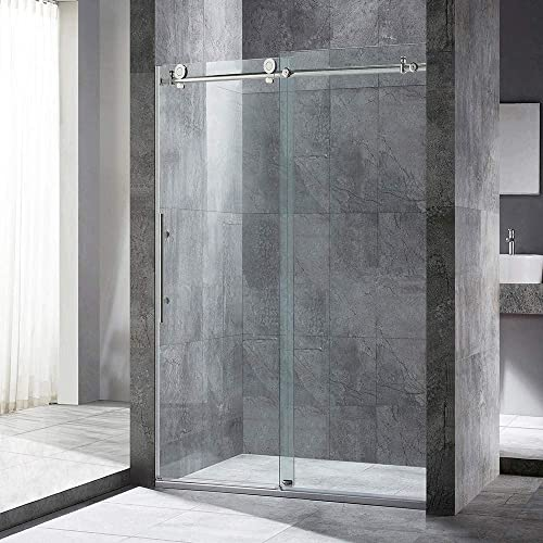 WOODBRIDGE Frameless Sliding Shower, 44 -48 Width, 76 Height, 3 8 10 mm Clear Tempered Glass, Stainless Steel Finish, Designed for Smooth Door Closing. MBSDC 4876-B, Brushed Nickel