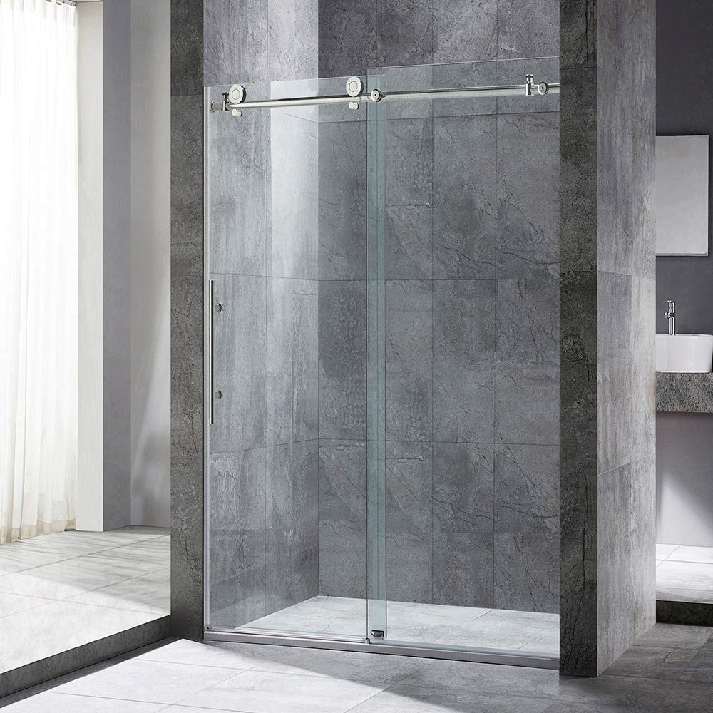 WOODBRIDGE CHROE Chrome Frameless Sliding Shower, 44 -48 Width, 76 Height, 3 8 10 mm Clear Tempered Glass,Designed for Smooth Door Closing and Opening. MSDC4876-C, MBSDC4876-C