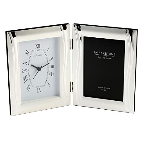 Amazon.com: Personalised Silver Plated Clock And Combined Double ...