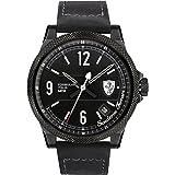 Scuderia Ferrari Formula Italia S Mens Black Leather Date Watch 0830272
