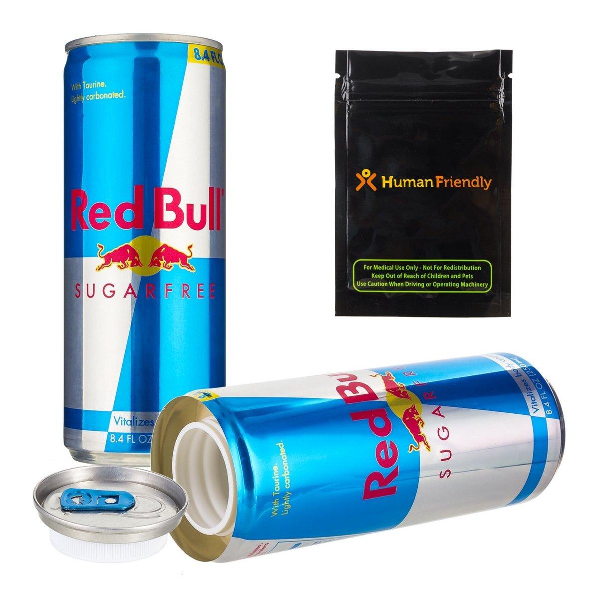Red Bull Sugar Free DiversionセーフSecret Stash Can 8oz W humanfriendly Smell Proofバッグ B0753BDVGY