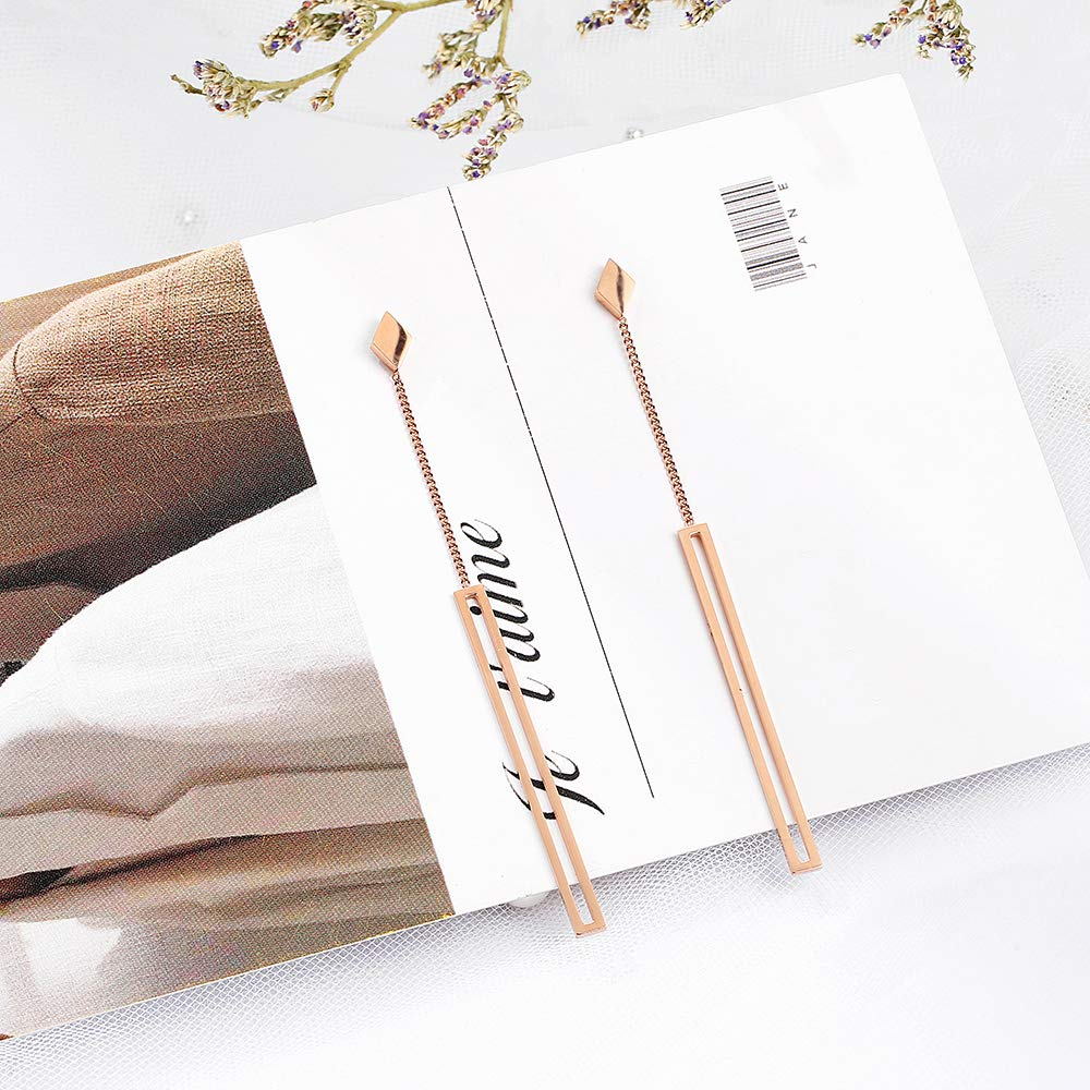 dnswez Rose Gold Long Straight Strip Earrings Drop Studs Stainless Steel for Women Dangle Line Earring Small Bar Fashion Jewelry