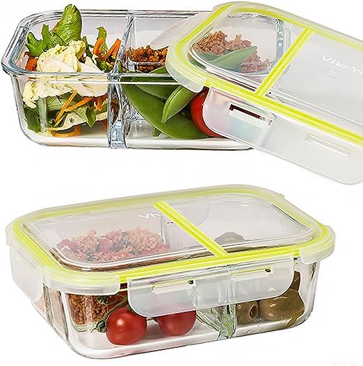 Vhari 3 compartimiento de alimentos de vidrio contenedor caja de ...