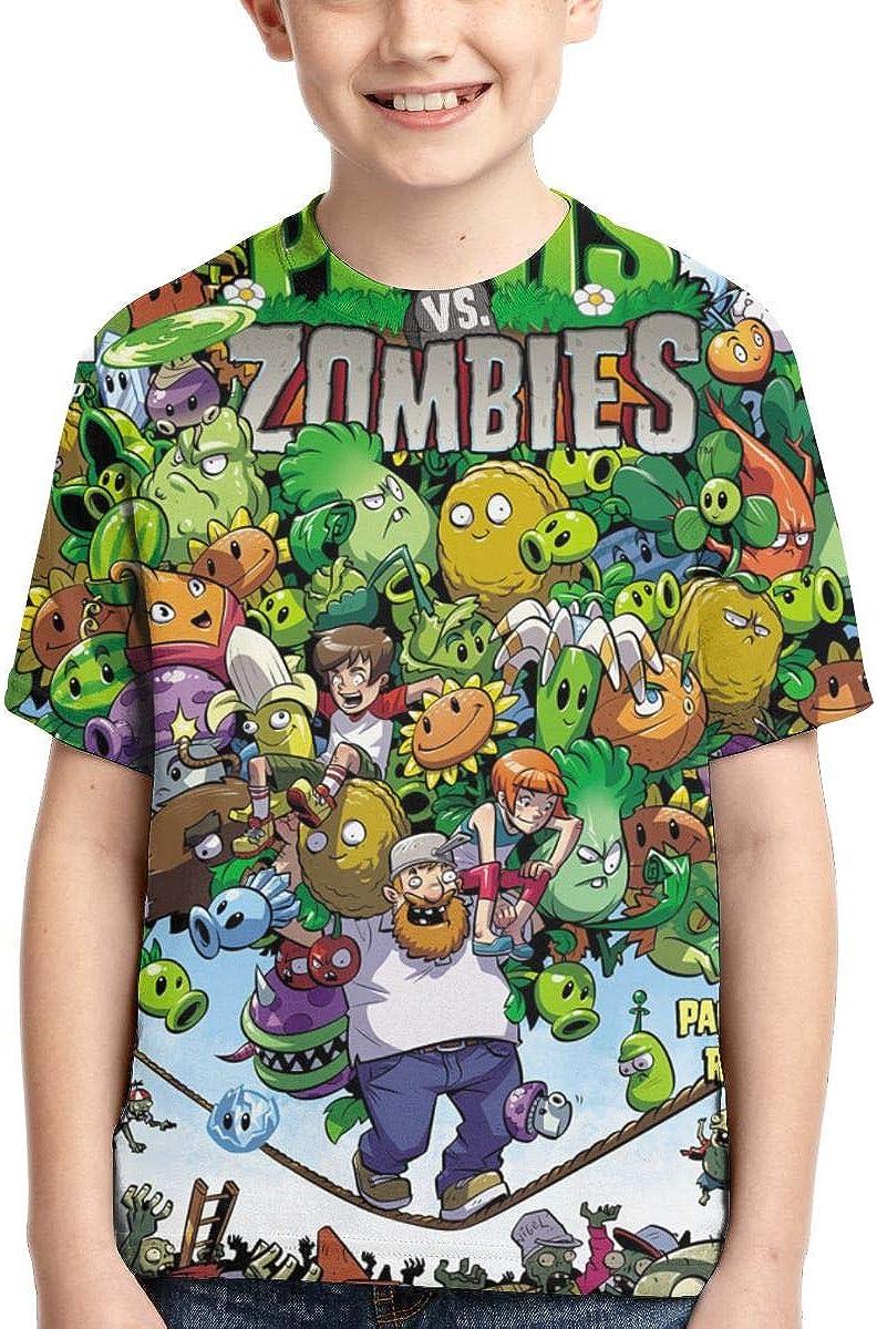 Lemonnnen Plants Vs. Zombies 3D Full Printed Boy T-Shirt Black