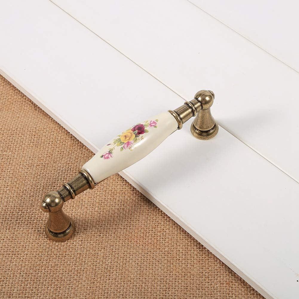 Asixx Poign/ée de Meuble 2# Tiroir et Placard Poign/ée de Porte Vintage en C/éramique avec Motif de Fleur pour Armoire