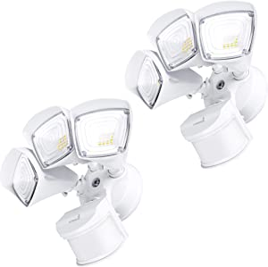Hyperikon Outdoor Security Light, 37.5W LED Flood Light Fixture with Wide Range Motion Sensor, 3 Head, 2 Pack, White