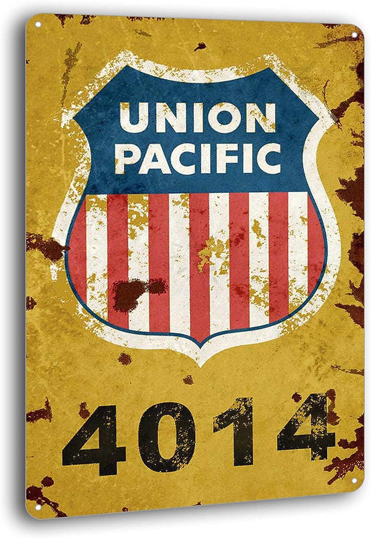BAYABU Union Pacific Railway Logo Train Railroad Rustic Retro Wall Decor Metal Tin Sign 8 x 12 inches