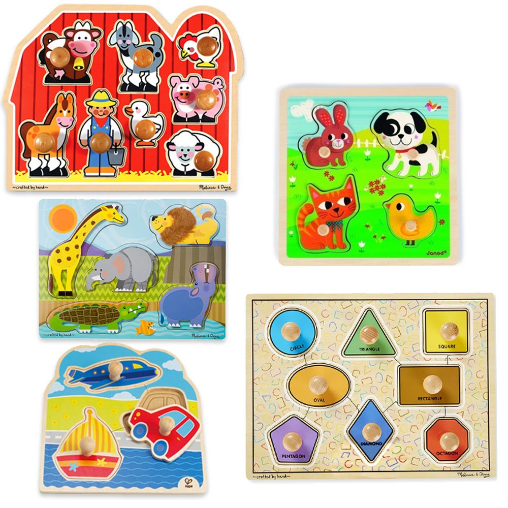 Educational Toys Planet First Puzzles for Toddlers Bundle of 5 Jumbo Knob Wooden Puzzles by Educational Toys Planet