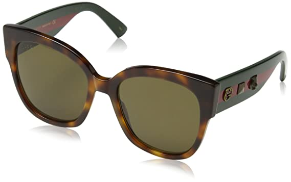 e5e0fa2c4a6 Image Unavailable. Image not available for. Color  Gucci 0059 002 Havana  Green Brown Sunglasses