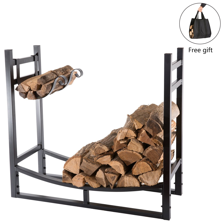 DOEWORKS Heavy Duty Firewood Racks 3 Feet Indoor/Outdoor Log Rack with Kindling Holder, 30 Inch Tall, Black