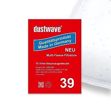 Mega Pack – 20 Bolsas para aspiradora Kärcher WD 2500 M Aspiradora – dustwave® Marca Bolsa para el polvo – Fabricado en Alemania.