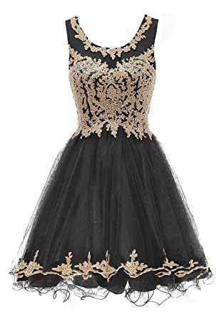 Pettus Womens Scoop Neck Beads Homecoming Dresses Gold Lace Sequins Prom Gowns Short