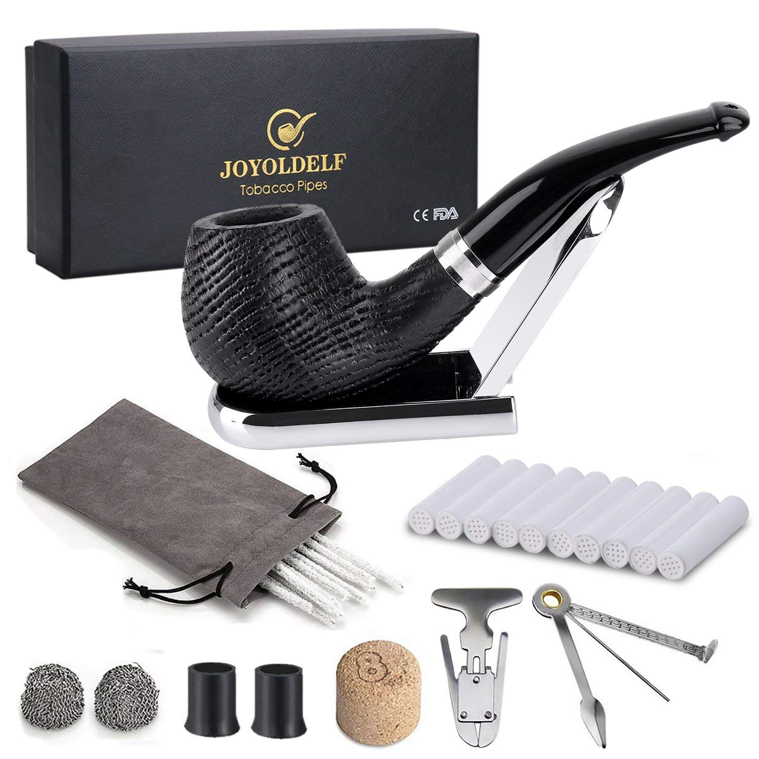 Joyoldelf Oak Tobacco Pipe Set, Wooden Pipe with Foldable Stand, Reamer, 3-in-1 Pipe Scraper and Other Accessories, Bonus a Pipe Pouch with Gift Box by Joyoldelf