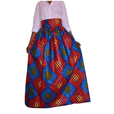 Abetteric Women's Vogue Digital African Dashiki Pleated Maxi Skirt AS1 2XL