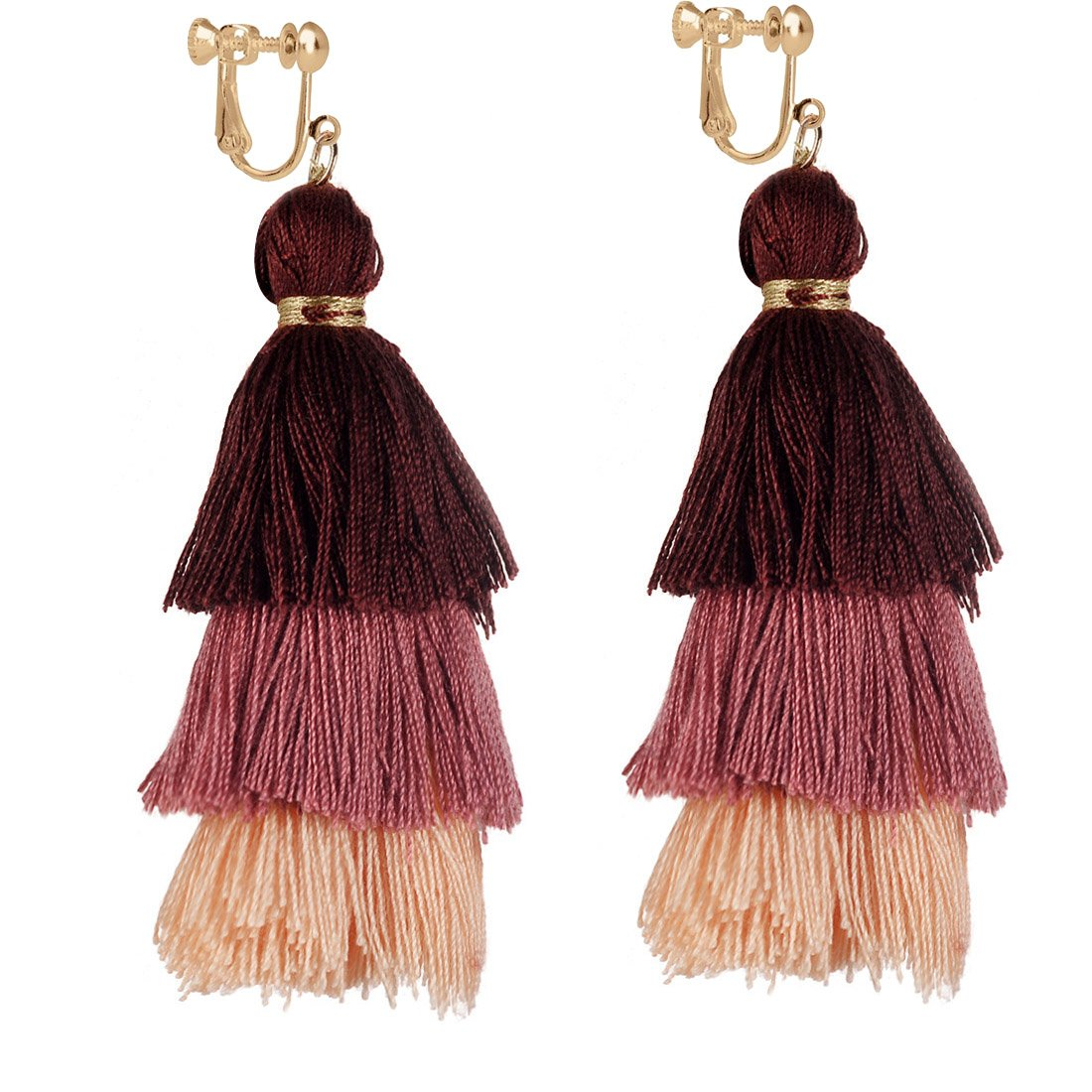Layered Tassel Clip on Earring Big Bohemian Dangle Stud Tiered Long Thread Statement Women Brown