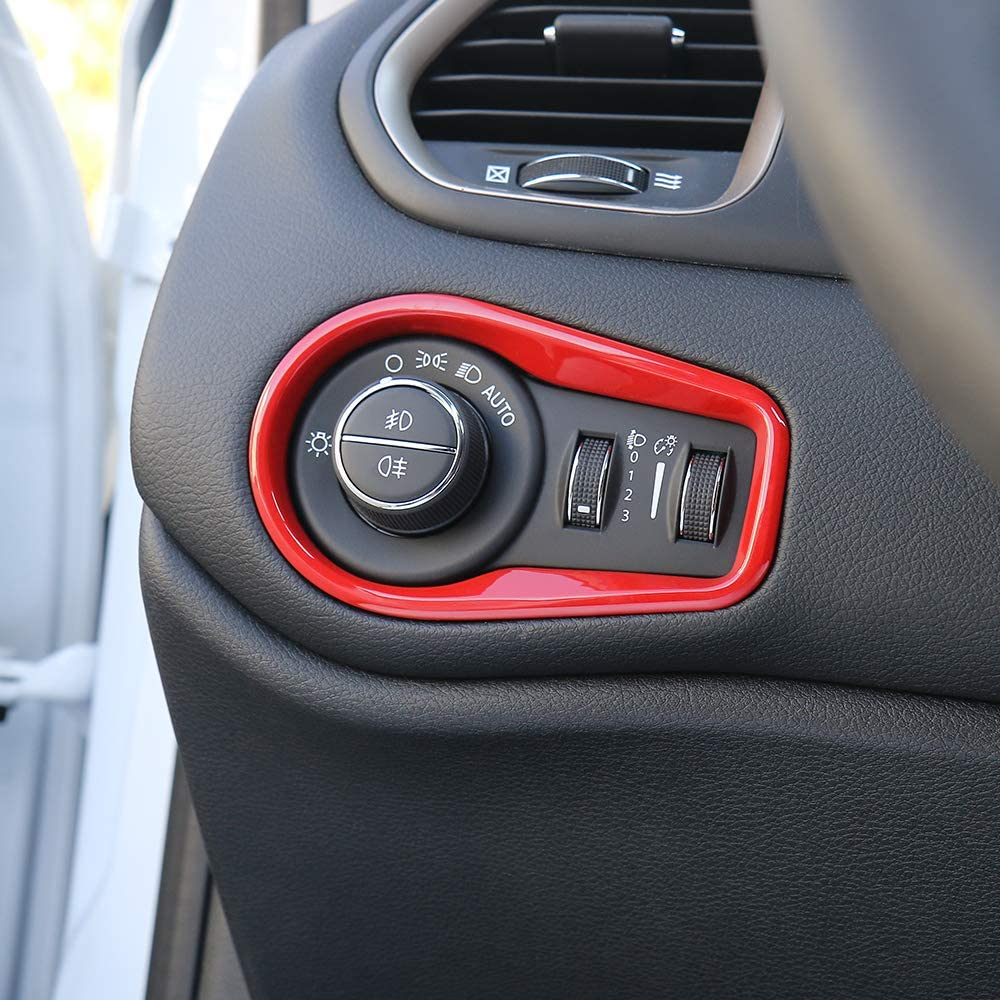 ABS Red 1PC for Jeep Renegade 2015-2020 Head Light Control Switch Trim Interior Accessories