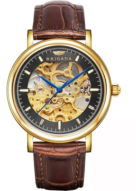 Review BRIGADA Swiss Brand Nice Classic Luxury Gold Hollow Mechanical Automatic Men's Watch