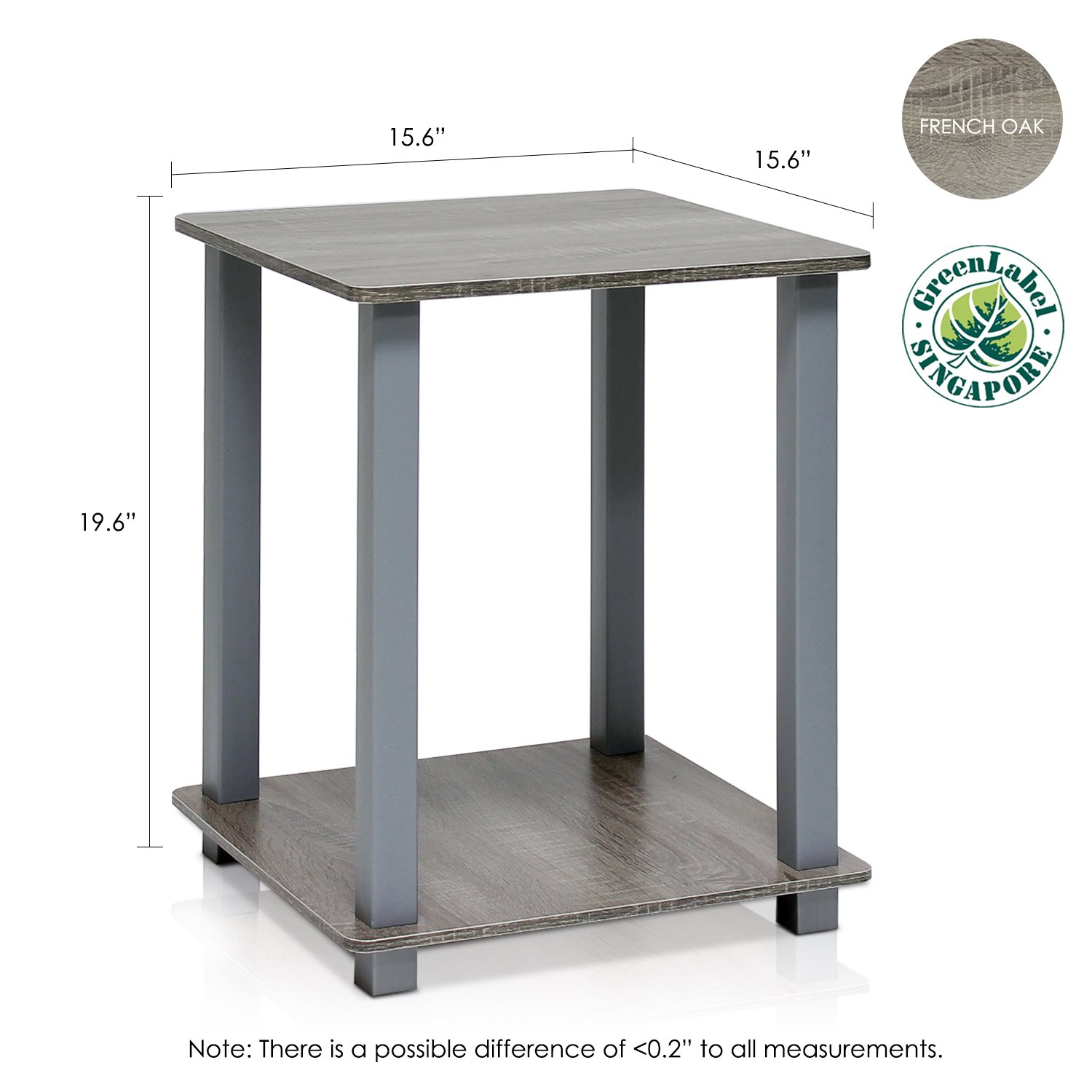 a0ef327c2760cd Amazon.com: Furinno 12127GYW/GY Simplistic End Table, French Oak Grey, Set  of 2: Kitchen & Dining