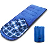 X-CHENG Flannel Sleeping Bags - ECO Friendly Materials - Super warm Flannel lining -Water Resistant & Machine Washable - Multi- Season & 32℉Available - Perfect for Camping, Hiking (right)