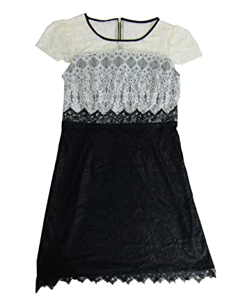 Kensie Womens Lace Colorblock Cocktail Dress Black Ivory M At Amazon