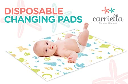 Amazon.com : Carriella Disposable Changing Pads 25 Extra Large 24 X 18 Leak  Proof Baby Diaper Travel Change Mats : Baby