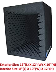 TroyStudio Portable Sound Recording Vocal Booth Box - |Reflection Filter & Microphone Isolation Shied| - |Large, Foldable, Stand Mountable, Super Dense Sound Absorbing Foam (Small)