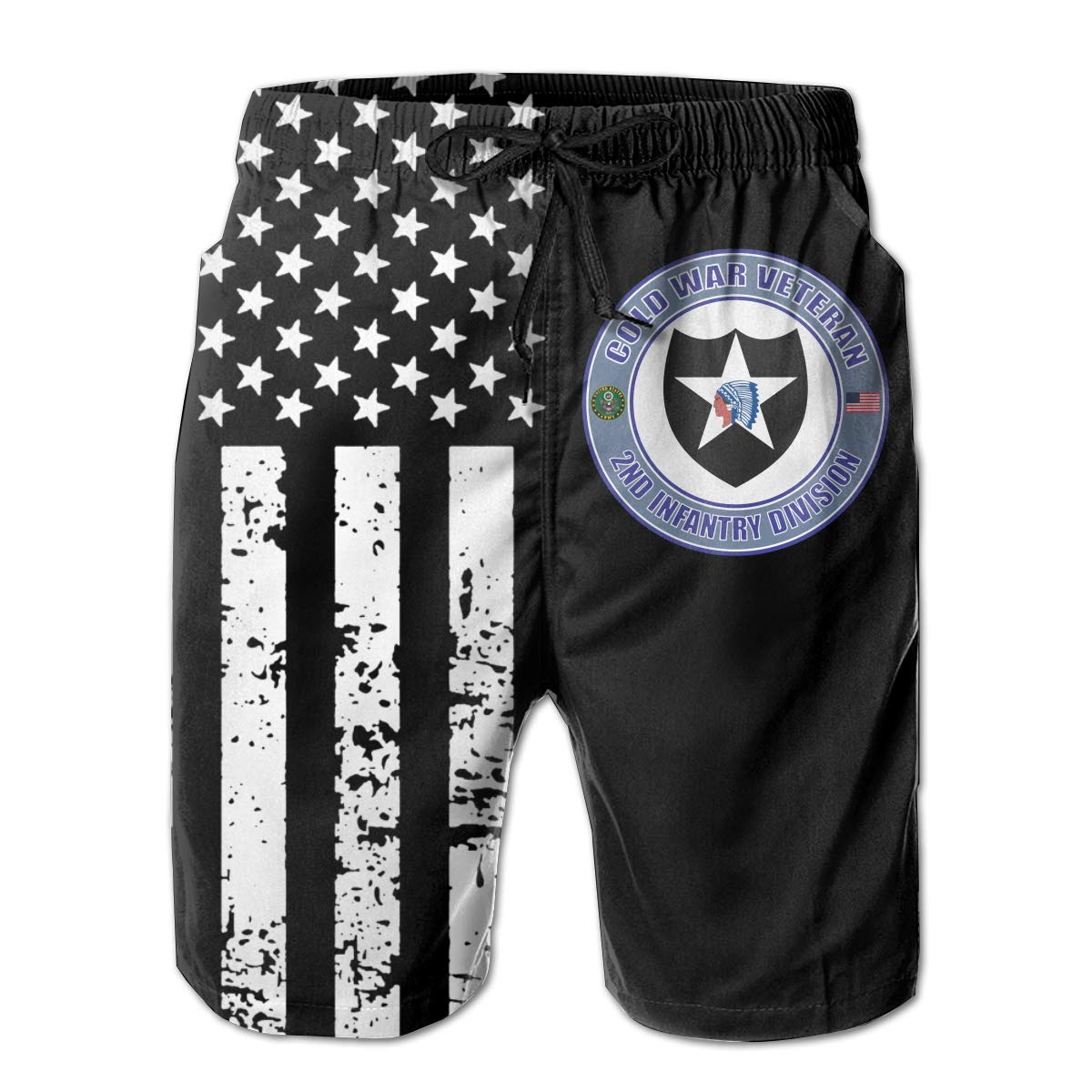 U.S Army Cold War 2nd Infantry Division Veteran Mens Quick Dry Swim Trunks with Pocket Drawstring