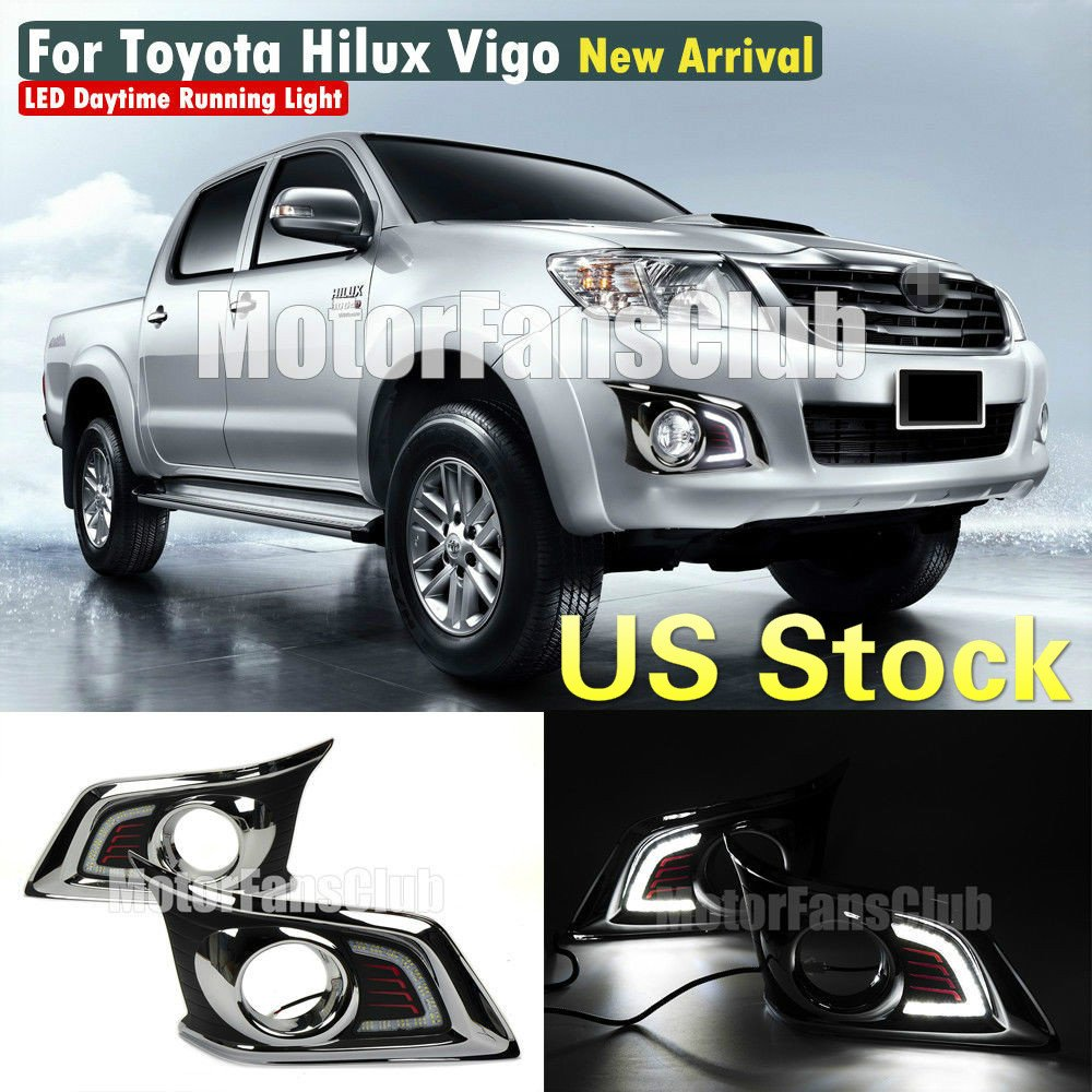 MotorFansClub LED Daytime Running Light for Toyota Hilux Vigo Fog Driving Lamp DRL 2012-2014