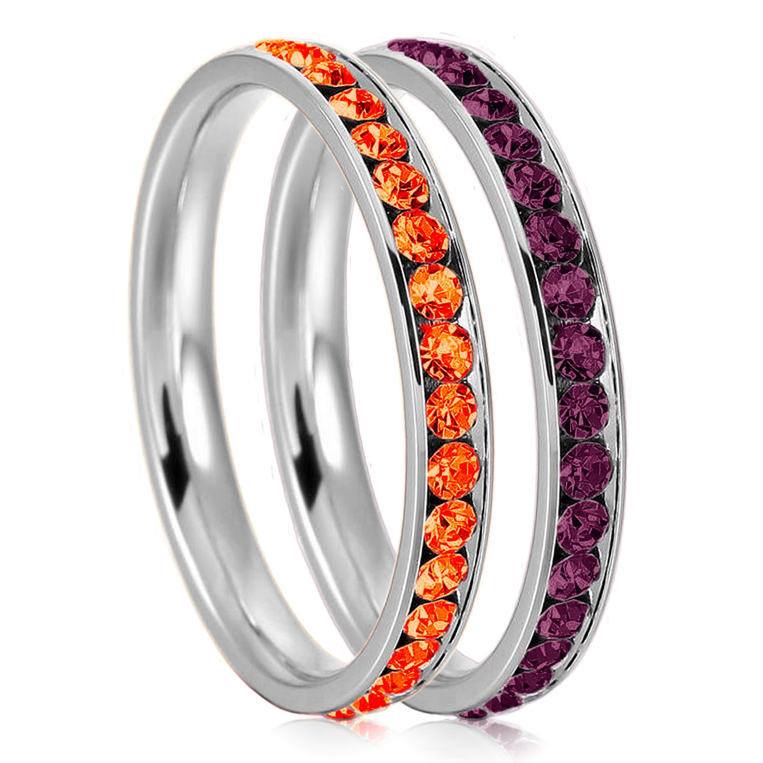 3mm Stainless Steel Eternity Hyacinth & Amethyst Color Crystal Stackable Wedding Band Rings (2 pieces) Set, Size 7