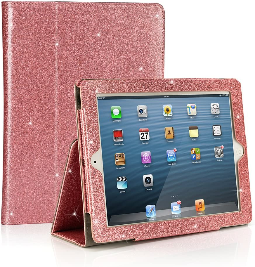 RUBAN Folio Case for iPad 2 3 4 (Old Model) 9.7 inch Tablet - [Corner Protection] Slim Fit Smart Stand Protective Cover Auto Sleep/Wake for iPad 2 iPad 3rd 4th Gen with Retina Display, Pink Glitter