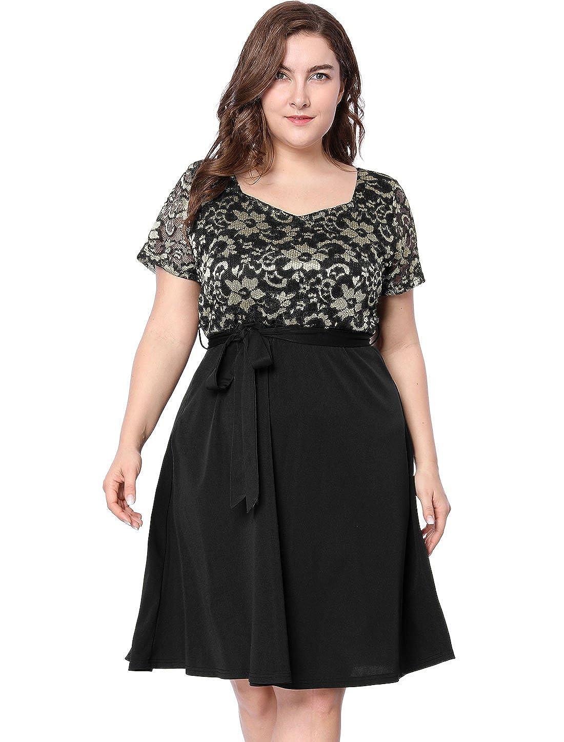 Agnes Orinda Women's Plus Size Square Neck Belted Floral Lace Panel Dress s18041300it0784