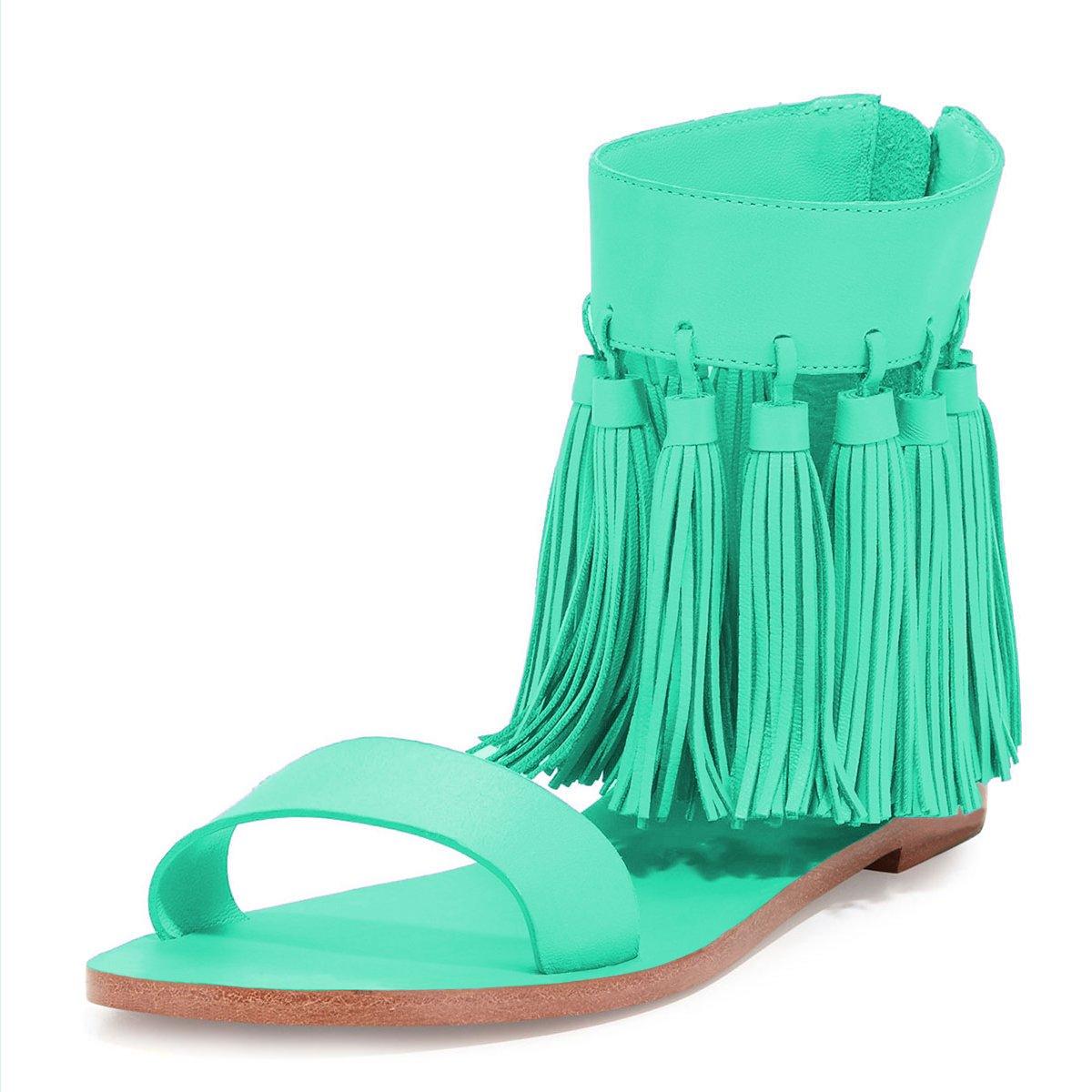 YDN Women Fringes Flats Tassels Open Toe Sandals Low-Heel Back Zipper Shoes B01EH699FO 10 B(M) US|Turquoise