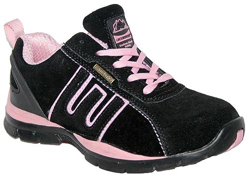 Groundwork Ladies Ligero Piel, Puntera de Acero Cordones Zapatillas de Seguridad.: Amazon.es: Zapatos y complementos