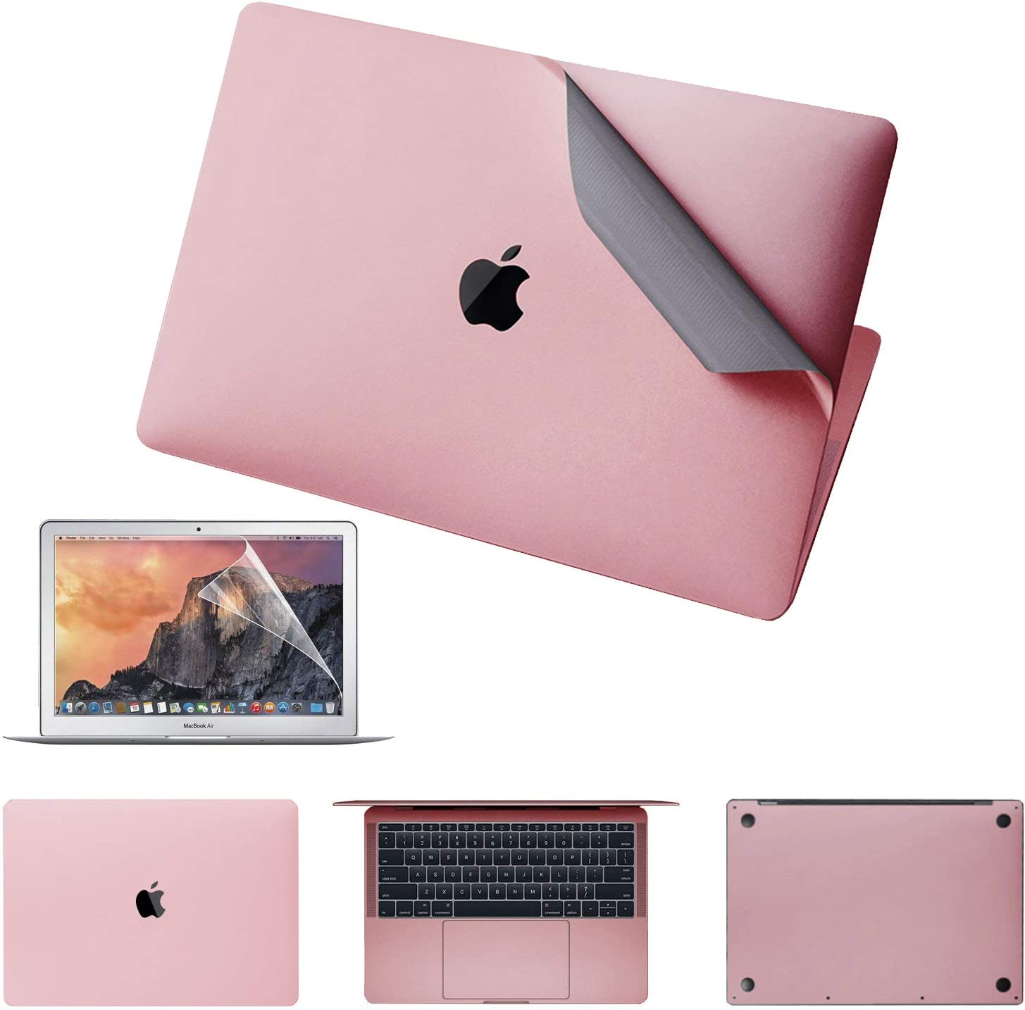 """JRCMAX 5-in-1 MacBook Full Body Stickers for MacBook 12"""" 12 inch Retina Model A1534,3M Full-Cover Protector Vinyl Decal Skin [Top + Bottom + Touchpad + Palm Rest) with Screen Protector (Rose Gold)"""