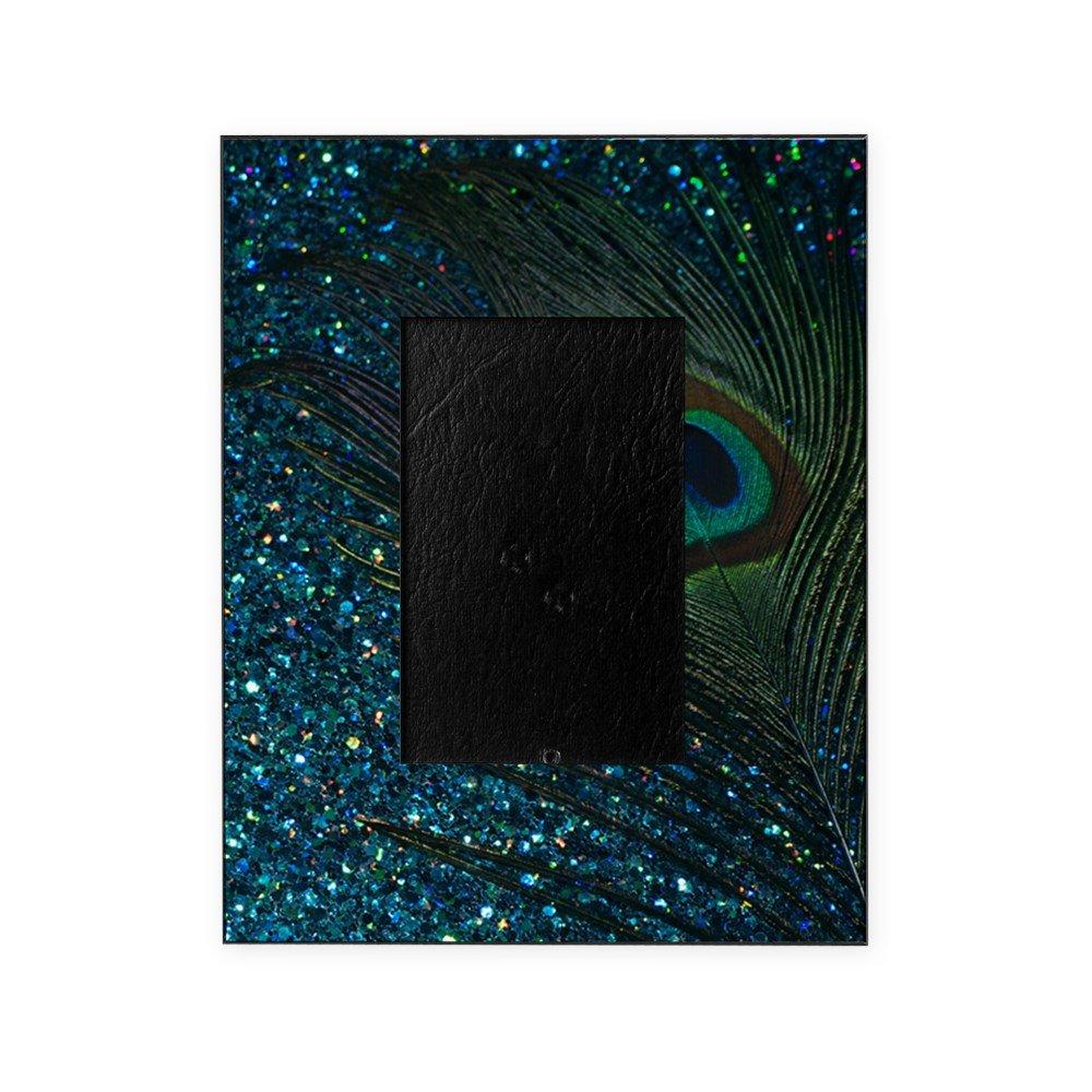CafePress - Glittery Aqua Peacock - Decorative 8x10 Picture Frame