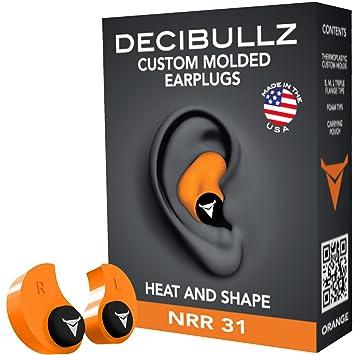 Decibullz – Speziell Geformte Ohrstöpsel, 31dB Höchste NRR, Bequeme Gehör Schutz für Shooting, Reisen, Schwimmen, Arbeit und