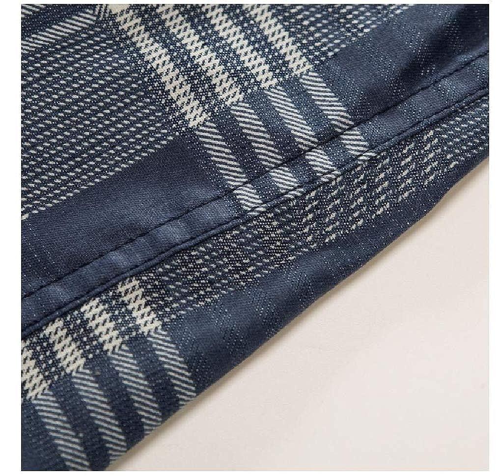 Tralounry Men No-Iron Classic Plaid Cowboy Premium Long-Sleeve Longshirt