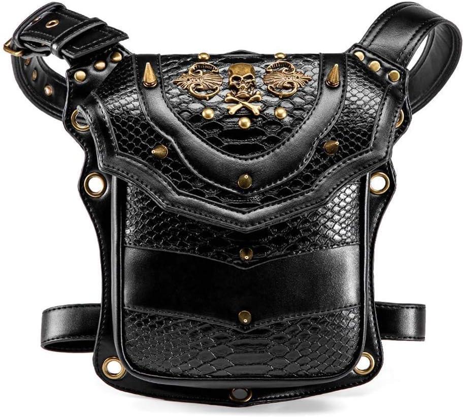 Marks Mochila Exterior Europeo Estilo y Bolsa Femenino Punk Skull Motocicleta Unisex al Aire Libre Cintura Bolsa Steampunk Retro Hombro Bolsa Diagonal Bolsillo Moda Bolsa