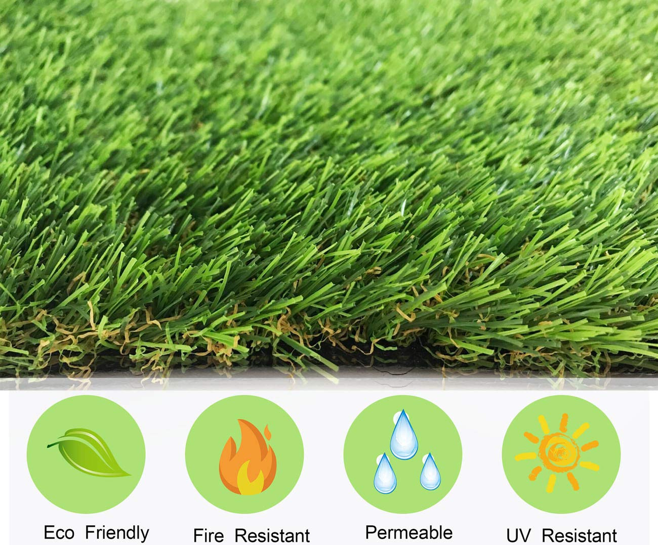Realistic Artificial Grass Rug Synthetic Turf Thick Fake Carpet Mat Easy Care Rubber Backed with Drainage Holes Lawn Area Mat Garden Doormat Indoor Outdoor Decoration (1.7ft x 2ft)