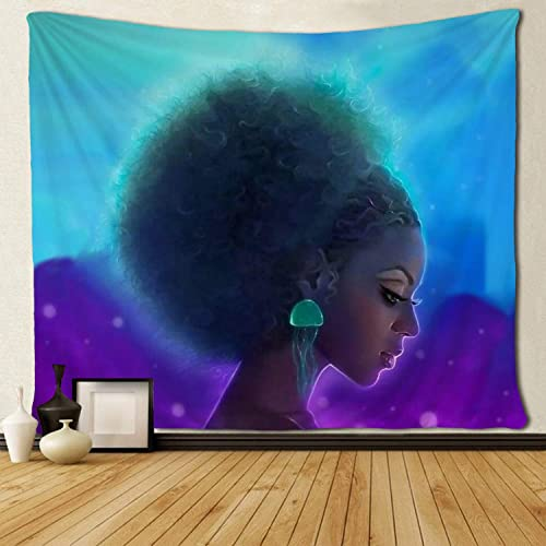 SARA NELL Black Art Wall Tapestry Hippie Art Blue Pink African American Women with Jellyfish Tapestries Wall Hanging Throw Tablecloth 60X90 Inches for Bedroom Living Room Dorm Room