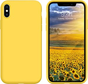 YINLAI iPhone Xs Case iPhone X Case Liquid Silicone Slim Soft Gel Rubber Bumper Cover Microfiber Cloth Lining Cushion Non-Slip Shockproof Durable Phone Cases for iPhone X/XS Girly Yellow