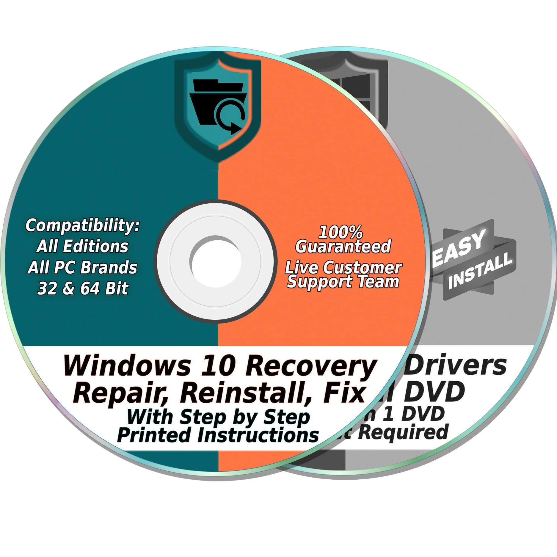 Windows 10 Compatible 32 & 64-Bit Install, Reset, Boot, Recovery, Restore, Repair & Fix Disk with 2018 Drivers 2 DVD Set for Home & Professional {All PC Brands & Systems} by Ezalink