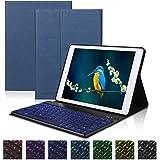 DINGRICH 軽量iPad Pro9.7キーボードケースBluetooth 分離式 PU レザー iPad 2018 第6世代 カバー/iPad 2017 第5世代 / iPad air/iPad pro 9.7 / iPad air2 汎用オートスリープ機能付きワイヤレス キーボードカバー(紺色)