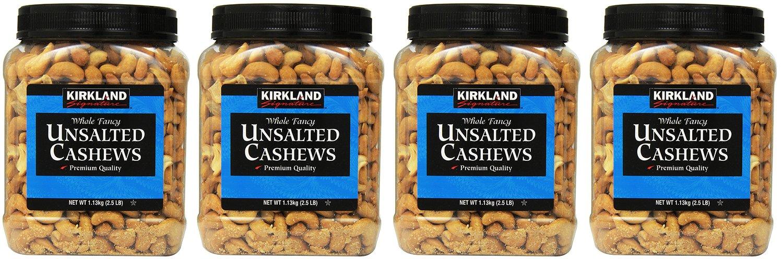Kirkland Signature, Unsalted nHhHx Cashews 2.5 Pound (Pack of 4) IVgsw