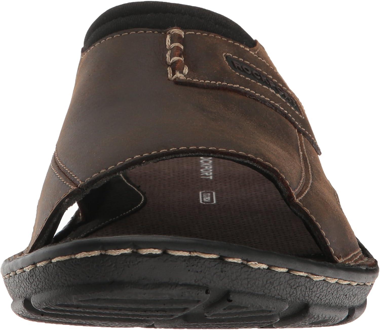 Rockport Mens Darwyn Slide 2 Sandal Brown Ii Leather 6.5 W US