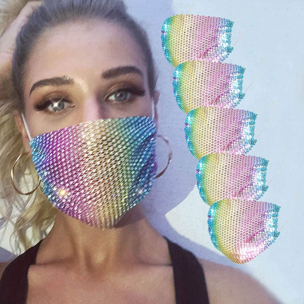 WHMQJQ 2 Pack Sequins Reusable Face Bandanas for Adults Dustproof Cotton Washable Breathable Full Face Protection