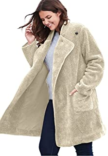 5b1535fd263 Woman Within Plus Size Hooded Berber Fleece Duster Coat at Amazon ...